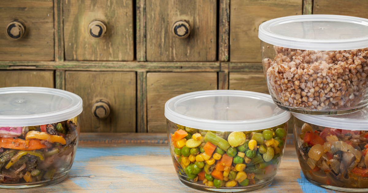 Leftovers in containers on a counter
