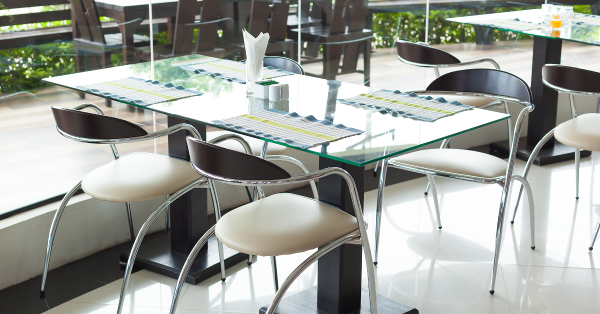 Indoor dining tables and chairs